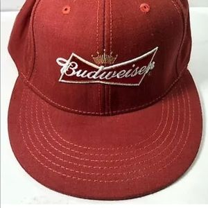 Budweiser Beer Baseball Cap Hat Red Fitted